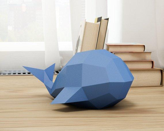 Papercraft : baleine bleue 3D en papier