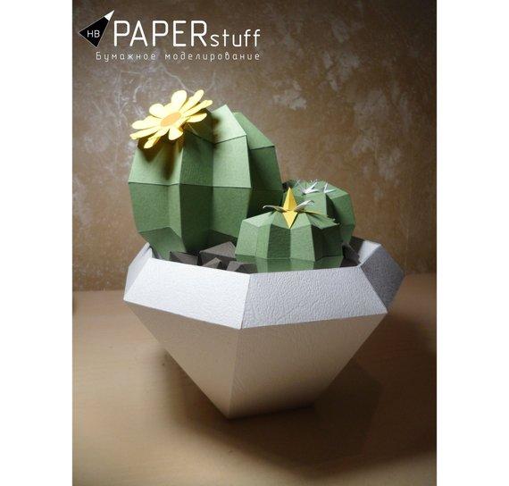 Papercraft cactus en pot Etsy Origami
