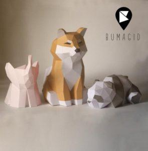 Papercraft éléphant, chien shiba et panda Origami