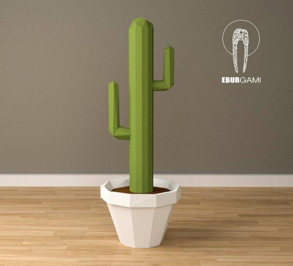 Papercraft grand cactus Etsy Origami