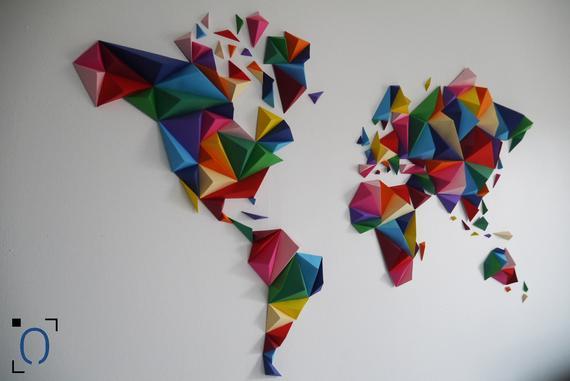 Papercraft carte du monde origami