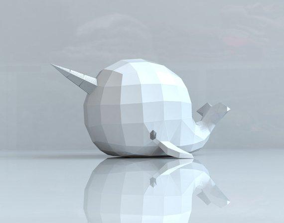 Papercraft Baleine licorne Nerval Etsy Origami
