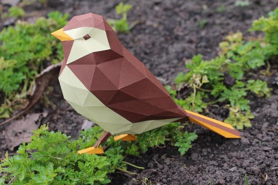 Papercraft oiseau bicolore Etsy Origami
