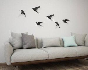 Papercraft oiseaux noirs origami