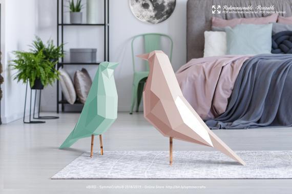 Papercraft oiseaux vert et rose origami