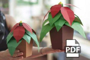 Papercraft plante verte à fleurs rouges origami