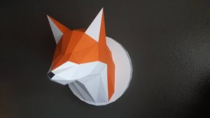 Papercraft trophée Renard origami