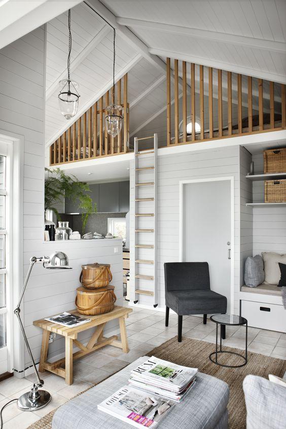 Mezzanine en tasseaux de bois