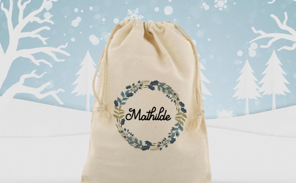 Sac de Noël personnalisé avec prénom pour emballer ses cadeaux de Noël