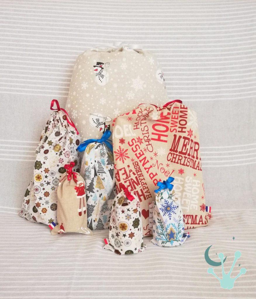 """Sacs """"Hotte de Noël"""" différents tissus pour un emballage cadeau écologique"""