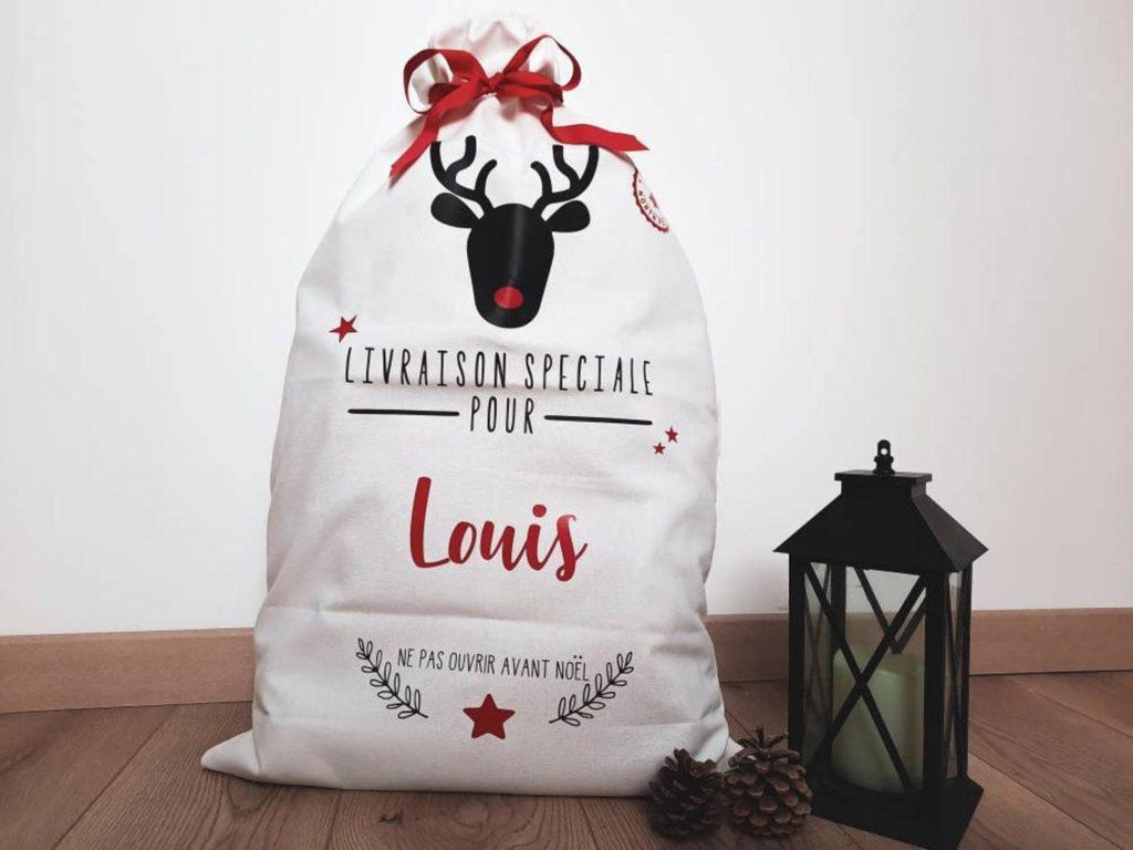Sac tissu personnalisé hotte de Noël pour emballage cadeau