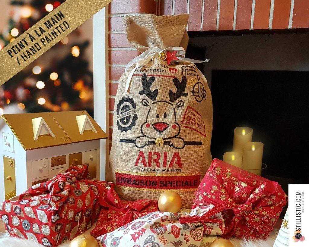 Sac en toile de Jute pour emballage des cadeaux de Noël