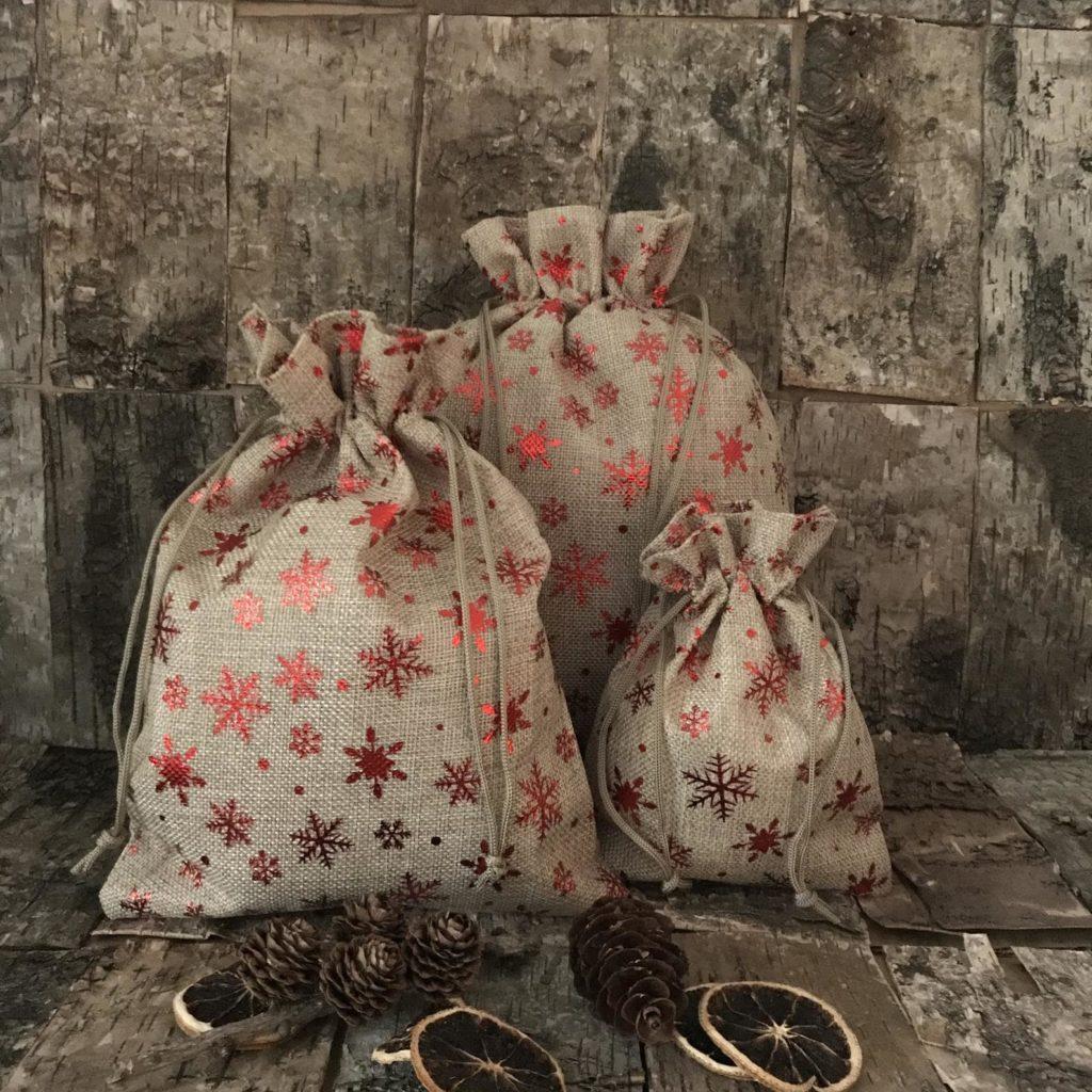 Sac Hotte de Noël en toile de jute avec flocon rouge pour emballage cadeau écologique