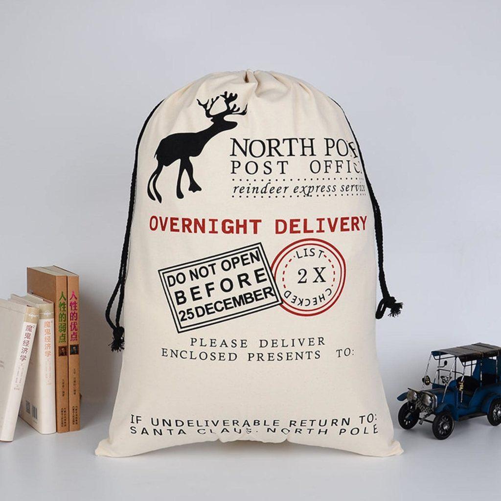 Sac vrac hotte de Noël Livraison du Pôle Nord pour emballage cadeau