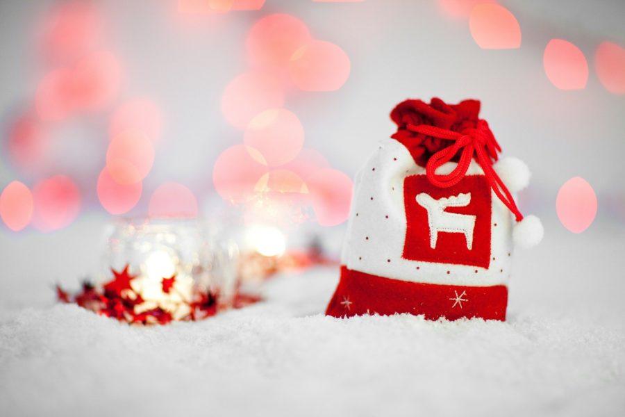 Hotte de Noël rouge et blanc pour emballage cadeau